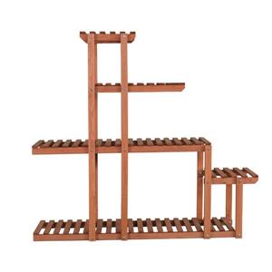 Leisure Season Multi-Tier Plant Stand - 40-in x 37-in - Wood - Brown