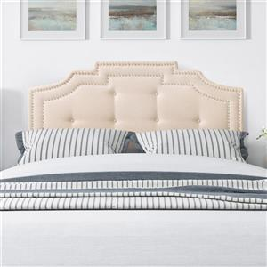 CorLiving Headboard with Button Tufting- Cream- Double