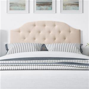 CorLiving Tufted Fabric Arched Panel Headboard- Cream -Queen