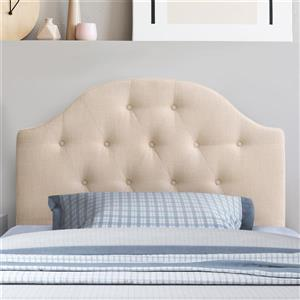 CorLiving Tufted Fabric Arched Panel Headboard- Cream-Single