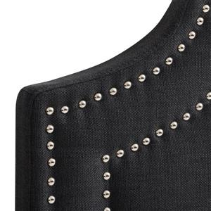 CorLiving Headboard with Button Tufting - Dark Grey -Double