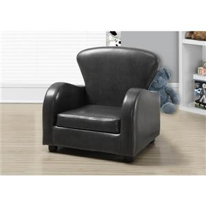 Monarch Kids Faux Leather Chair - Charcoal Grey