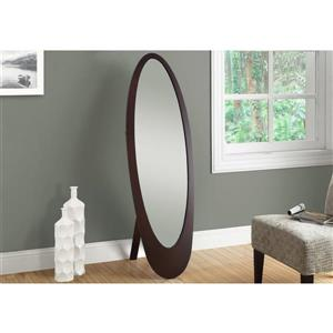 Monarch Oval Standing Mirror with Wood Frame - 59-in - Cappuccino