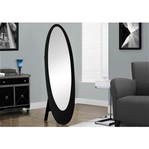 Monarch Oval Standing Mirror with Wood Frame - 59-in - Black