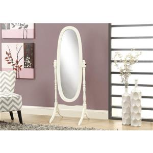 Monarch Oval Standing Mirror with Wood Frame - 59-in - Antique White