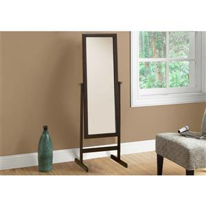 Monarch Oval Standing Mirror with Wood Frame - 60-in - Cappuccino