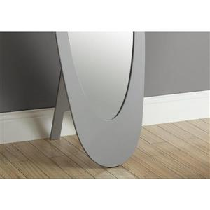Monarch Oval Standing Mirror with Wood Frame - 59-in - Grey
