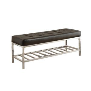 Monarch Contemporary Indoor Bench - 48-in - Black/Chrome