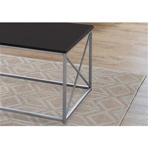 Monarch Metal Table Set - 3 Pieces - Cappuccino/Silver