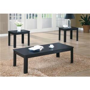 Monarch Wood Table Set - 3 Pieces - Black