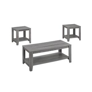Monarch Wood Table Set - 3 Pieces - Grey