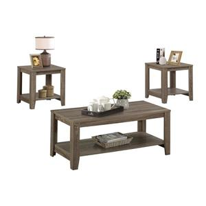 Monarch Wood Table Set - 3 Pieces - Dark Taupe