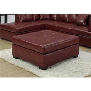 Monarch Faux Leather Ottoman - Red