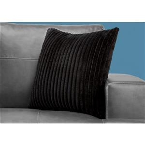 Monarch Decorative Corduroy Pillow -18-in x 18-in - Black