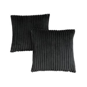 Monarch Decorative Pillow - 2 Pack - 18-in x 18-in- Black