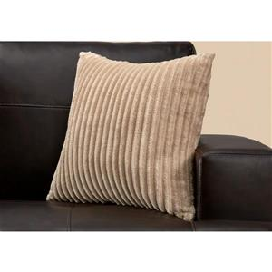 Monarch Decorative Corduroy Pillow - 18-in x 18-in - Brown