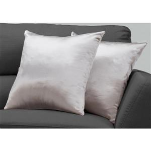 Monarch Decorative Pillow - 2 Pack - 18-in x 18-in - Silver
