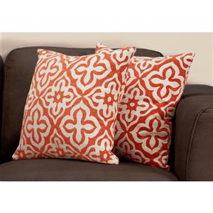 Monarch Decorative Pillow - 2 Pack - 18-in x 18-in - Orange