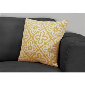 Monarch Decorative Corduroy Pillow - 18-in x 18-in - Yellow