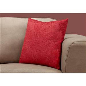 Monarch Decorative Corduroy Pillow - 18-in x 18-in - Red