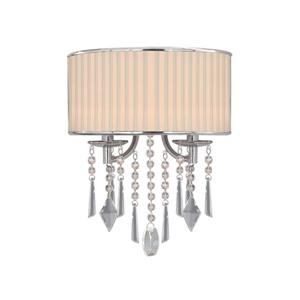 Golden Lighting Echelon 2 Light Wall Sconce in Chrome with Bridal Veil Shade