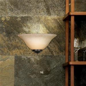 Golden Lighting 1 Light Wall Sconce in Rubbed Bronze with Tea Stone Glass