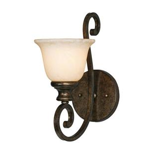 Golden Lighting Heartwood 1 Light Wall Sconce in Bronze with Tea Stone Glass
