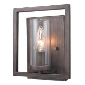 Golden Lighting Marco 1 Light Wall Sconce in Gunmetal Bronze and Clear Glass