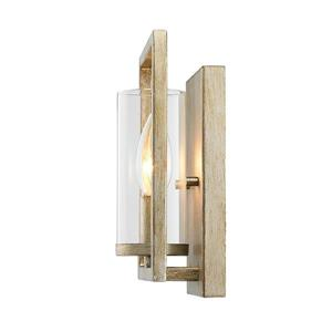 Golden Lighting Marco 1 Light Wall Sconce in White Gold with Clear Glass