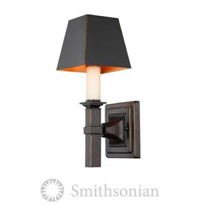 Golden Lighting Bradley 1 Light Wall Sconce in Bronze with a Black Shade
