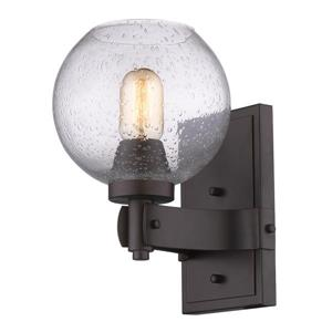 Golden Lighting Galveston 1 Light Wall Sconce in Bronze with Seeded Glass