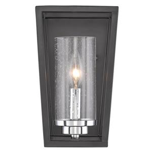 Golden Lighting Mercer 1 Light Wall Sconce in Black with Seeded Glass
