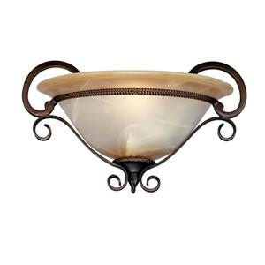 Golden Lighting Meridian 1 Light Wall Sconce in Bronze with Marbled Glass
