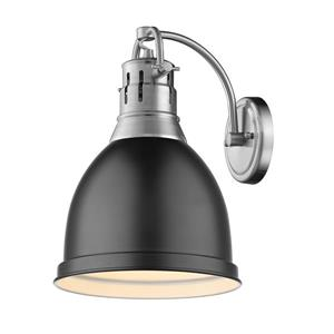 Golden Lighting Duncan 1 Light Wall Sconce in Pewter with Matte Black Shade