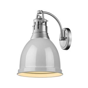 Golden Lighting Duncan 1 Light Wall Sconce in Pewter with a Gray Shade