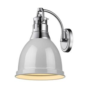 Golden Lighting Duncan 1 Light Wall Sconce in Chrome with a Gray Shade