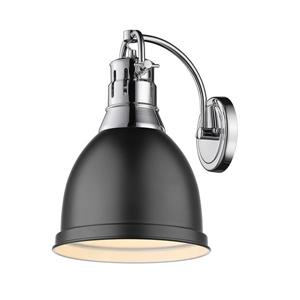Golden Lighting Duncan 1 Light Wall Sconce in Chrome with Matte Black Shade
