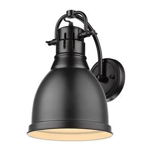 Golden Lighting Duncan 1 Light Wall Sconce in Black with a Matte Black Shade