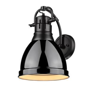 Golden Lighting Duncan 1 Light Wall Sconce in Black with a Black Shade