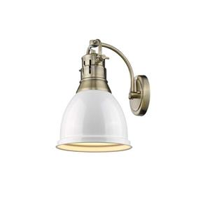 Golden Lighting Duncan 1 Light Wall Sconce in Aged Brass with a White Shade