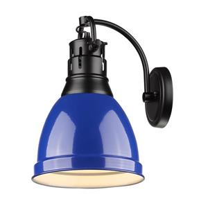 Golden Lighting Duncan 1 Light Wall Sconce in Black with a Blue Shade