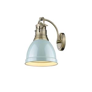 Golden Lighting Duncan 1 Light Wall Sconce in Aged Brass with Seafoam Shade