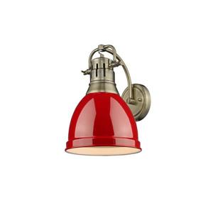 Golden Lighting Duncan 1 Light Wall Sconce in Aged Brass with a Red Shade