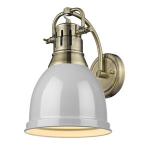 Golden Lighting Duncan 1 Light Wall Sconce in Aged Brass with a Gray Shade