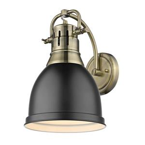 Golden Lighting Duncan 1 Light Wall Sconce in Aged Brass with a Matte Shade