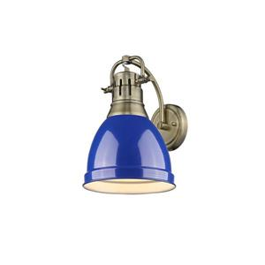 Golden Lighting Duncan 1 Light Wall Sconce in Aged Brass with a Blue Shade