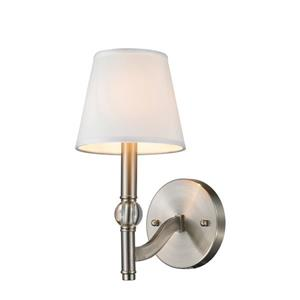 Golden Lighting Waverly 1 Light Wall Sconce in Pewter with White Shade
