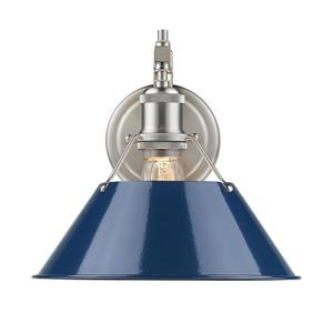 Golden Lighting Orwell 1 Light Wall Sconce in Pewter with Navy Blue Shade