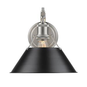 Golden Lighting Orwell 1 Light Wall Sconce in Pewter with Black Shade