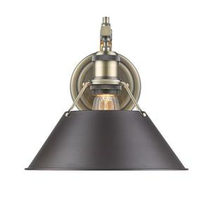 Golden Lighting Orwell 1 Light Wall Sconce in Aged Brass with Bronze Shade